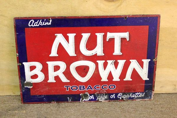 Antique Nut Brown Tobacco Enamel Sign