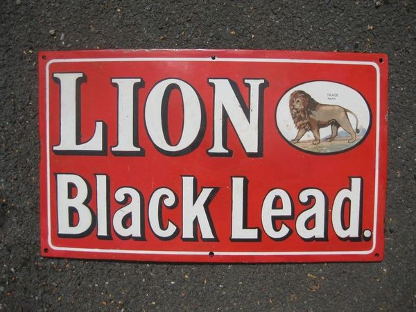 Lion Black Lead Enamel Sign