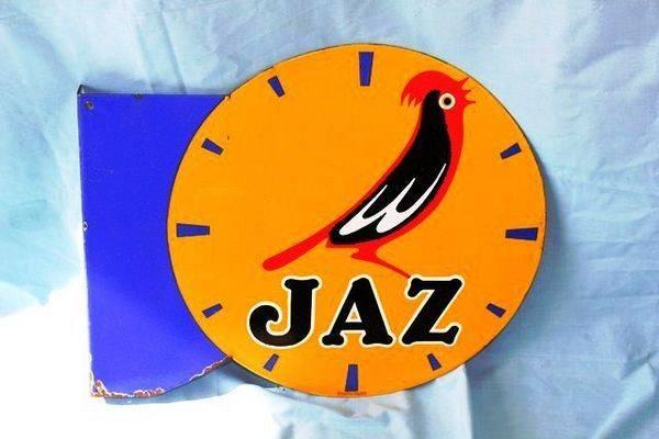 Art Deco Double Sided Jaz Clock Enamel Sign