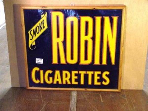 FRAMED ROBIN CIGS ENAMEL SIGN ---ST91