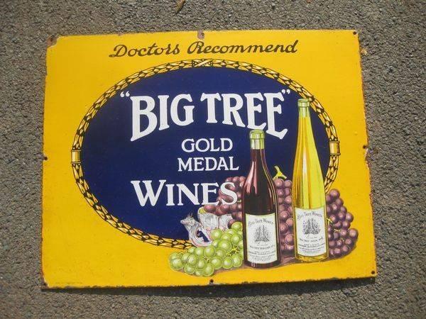 Big Tree Wines Enamel Sign