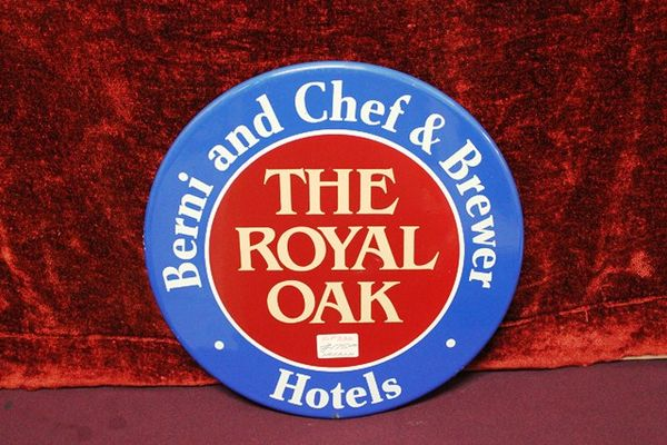 Royal Oak Hotels Brewery Enamel Advertising Sign
