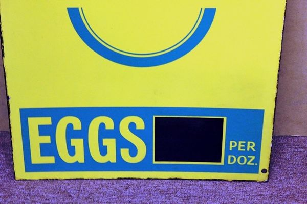 BOCM Eggs Double Sided Enamel Sign