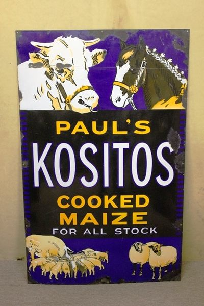 Antique Kositos Farming Pictorial Enamel Sign