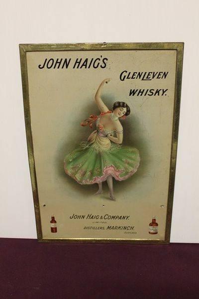 John Haigs Scotch Whiskey Tin Advertising Sign