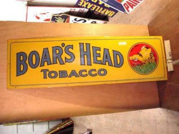 STUNNING BOARS HEAD STRIP ENAMEL SIGN ---ST102