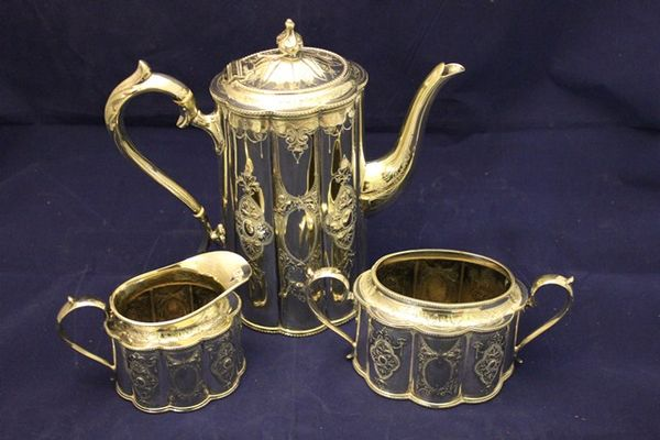 3 Piece Victorian C1885 Silver Plated Coffee Set