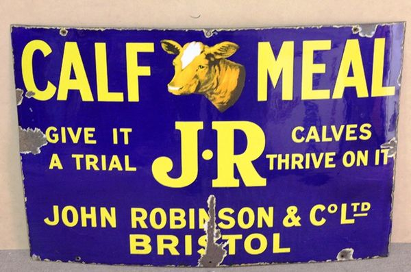 John Robinson Calf Meal Farming Enamel Sign