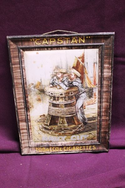 Capstan Navy Cut Tobacco Pictorial Shop Display Tin Sign