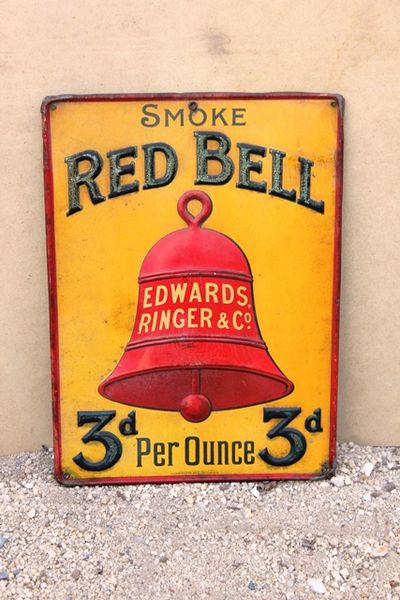 Embossed Red Bell Tobacco Tin Sign