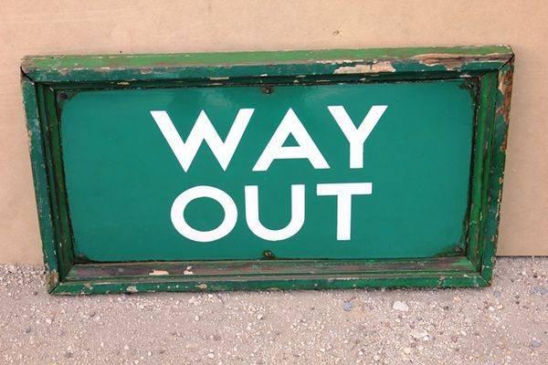 Framed Way Out Enamel Sign