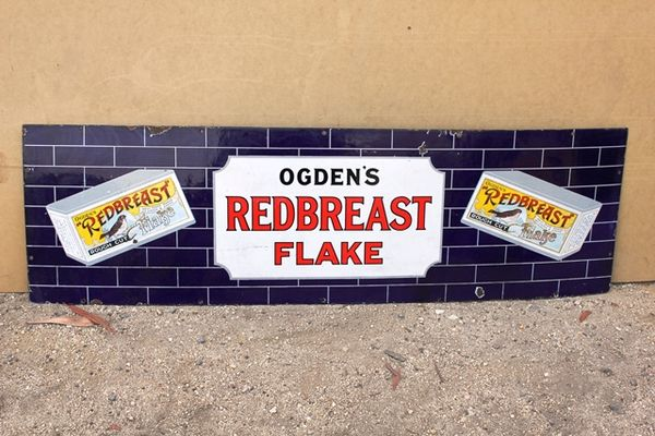 Ogdens Redbreast Flake Pictorial Enamel Sign