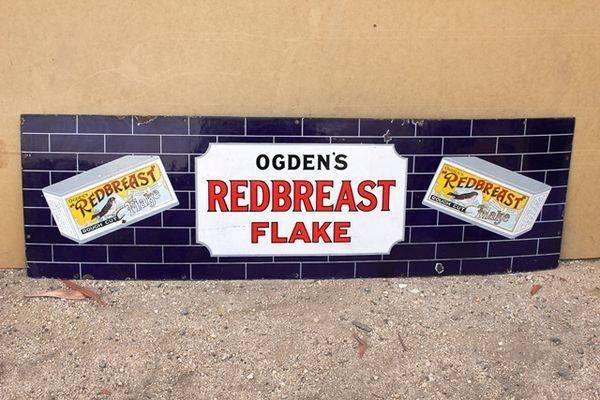 Ogdens Redbreast Flake Pictorial Enamel Sign