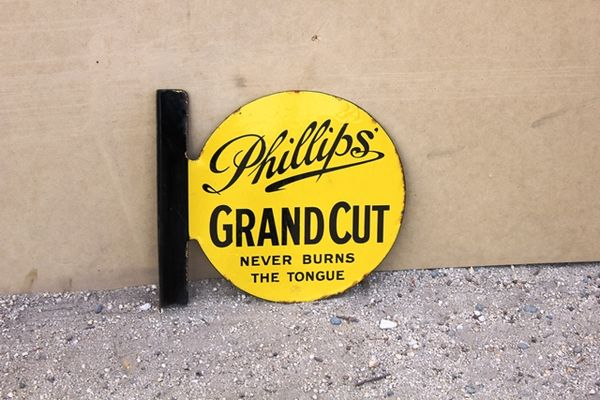 Phillips Grand Cut Tobacco Post Mount Enamel Sign
