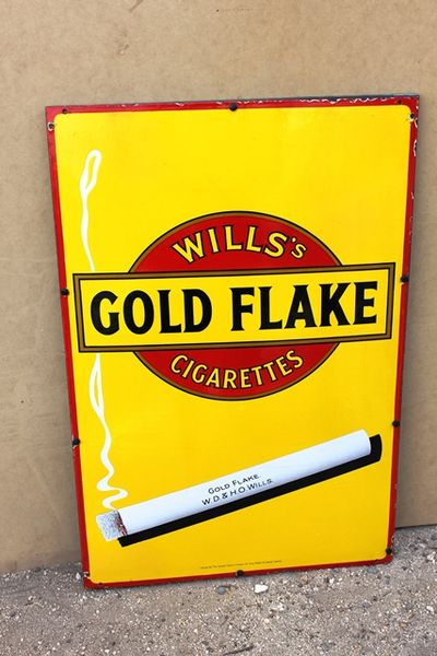 Wills Gold Flake Cigarettes Pictorial Enamel Sign