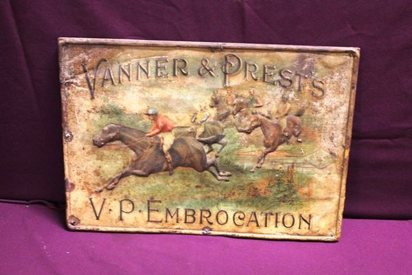 Vanner and Prestand96s Embrocation Embossed Tin Sign