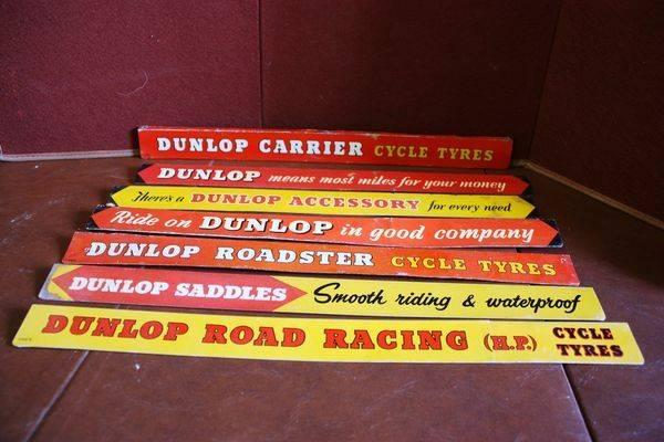 Collection of Dunlop Tin Shelf Strip Signs Arriving Nov