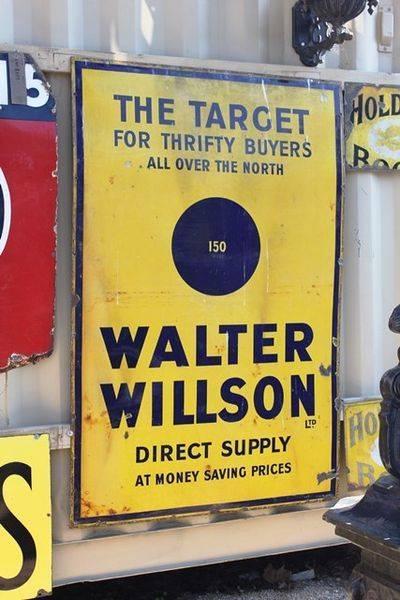 Large Walter Willson Enamel Advertising Sign