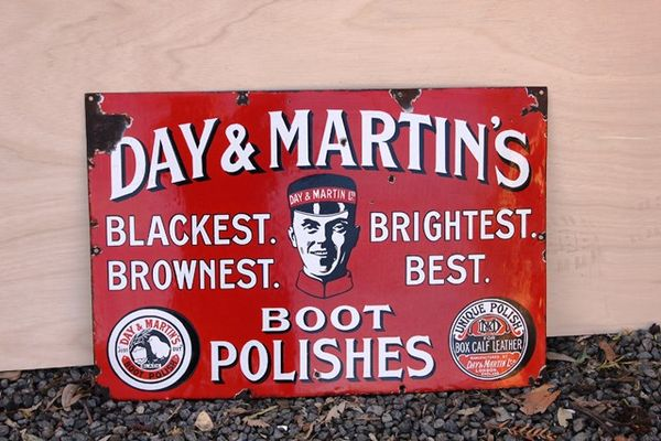 Day And Martins Boot Polish Enamel Sign