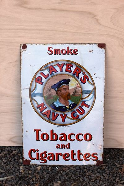 early player s navy cut pictorial enamel sign