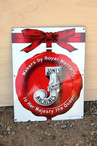 Jones Sewing Machine Enamel Advertising Sign