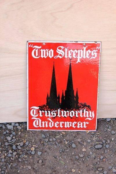 Two Steeples Trustworthy Underwear Double Sided Enamel Sign