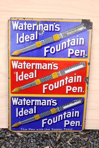 Watermanand96s Fountain Pen Enamel Sign