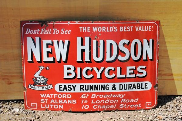 New Hudson Bicycles Enamel Sign