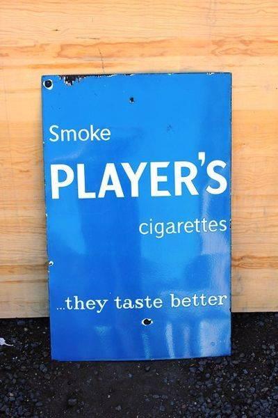Smoke Players Enamel Advertising Sign