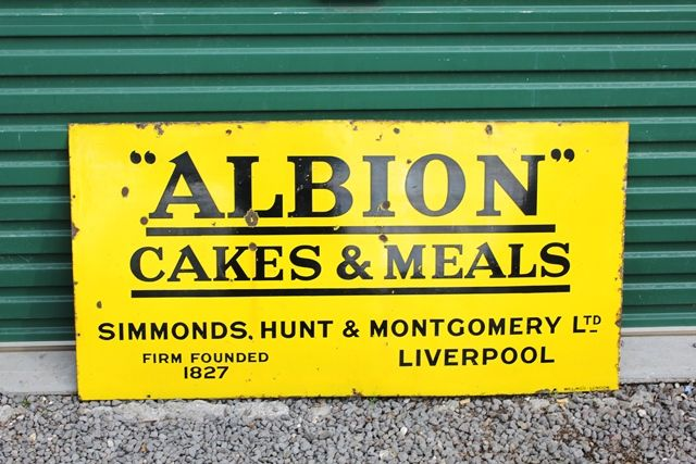Albion Cakes and Meals Enamel Advertising Sign