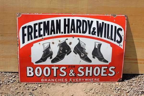 Freeman Hardy And Willis Boots And Shoes Enamel Signs