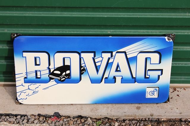 Near Mint Boxed Bovag Enamel Advertising Sign