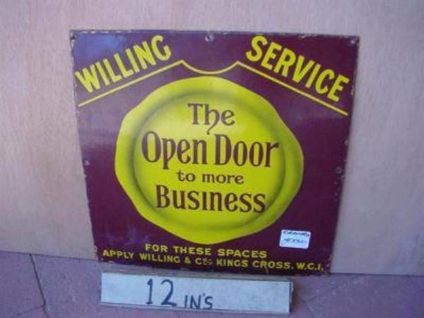 THE OPEN DOOR ENAMEL SIGN --- SM86