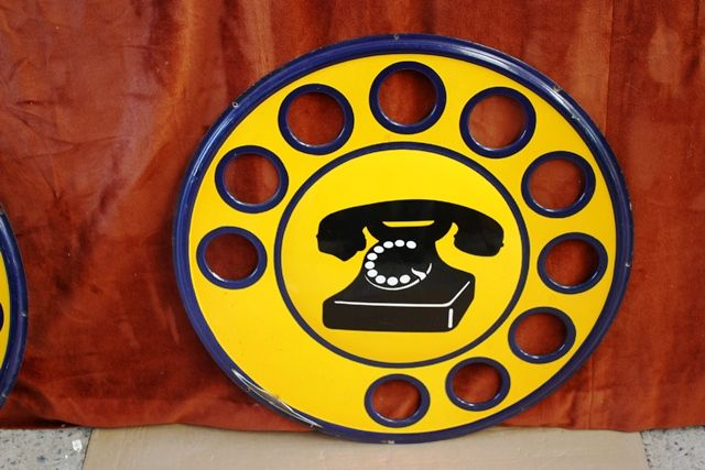 ARRIVING SOON Round Cut Out Dial Telephone Enamel Sign