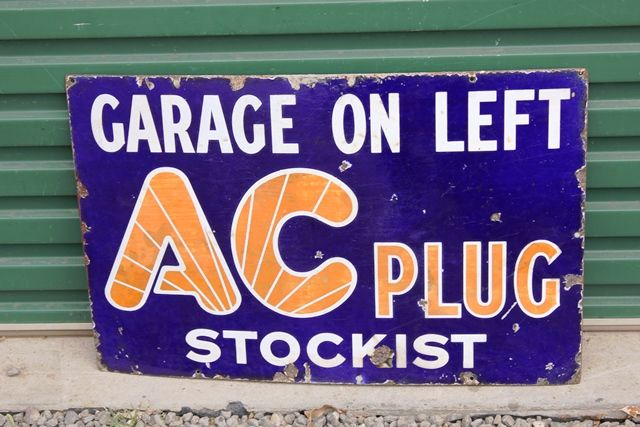 AC Spark Plugs Enamel Advertising Sign