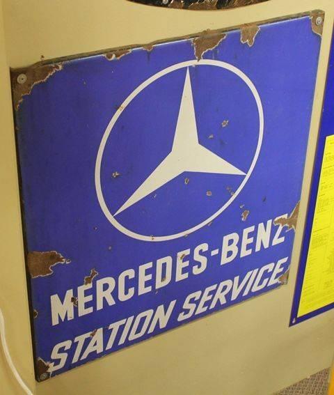 Mercedes benz station service enamel sign xxxx antique for Mercedes benz sign in