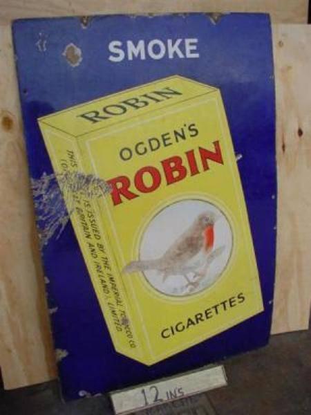 OGDENS ROBIN CIGARETTES ENAMEL SIGN ---ST110