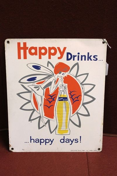 Happy Drinks Tin Advertising Sign