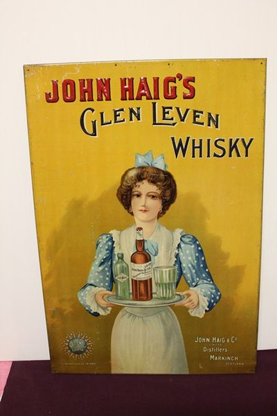 John Haigs Scotch Whiskey Pictorial  Tin Sign