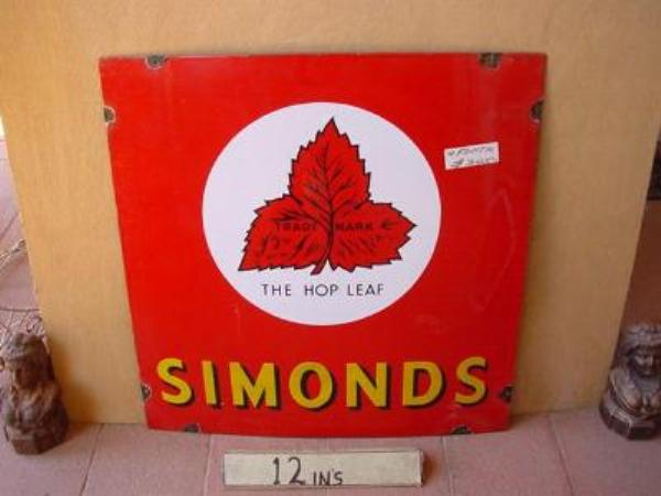 SIMONDS HOP LEAF ENAMEL SIGN ---SM96