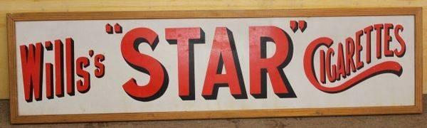 Wills Star Cigarettes Enamel Advertising Sign