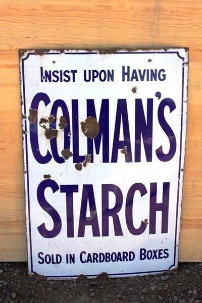 Colmans Starch Enamel Advertising Sign