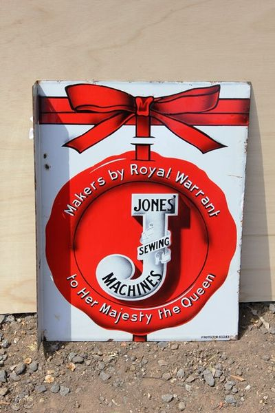 Jones Sewing Machine Post Mount Enamel Advertising Sign