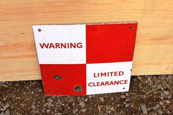 Warning Limited Clearance Enamel Sign
