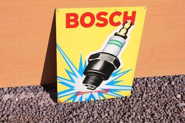 Bosch Pictorial Spark Plug Tin Advertising Sign