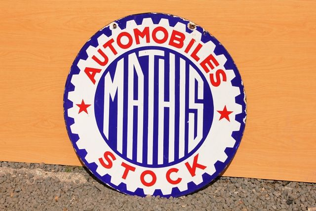 Mathis Automobile Stock Double Sided Enamel Sign