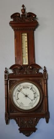 Antique Aneroid Barometer with Thermometer
