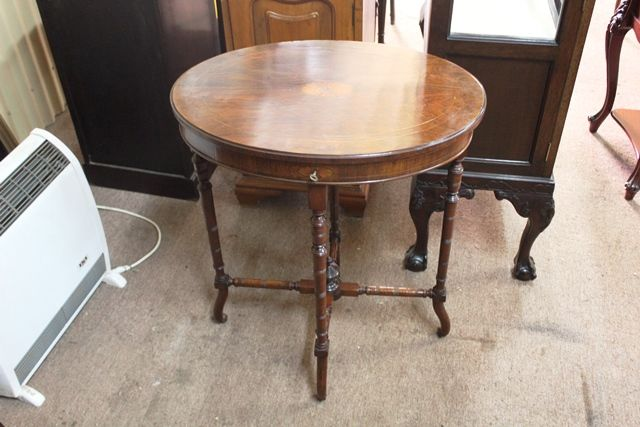 Inlaid Oval Sewing Table