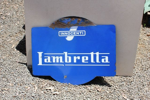 Lambretta Double Sided Enamel Advertising Sign