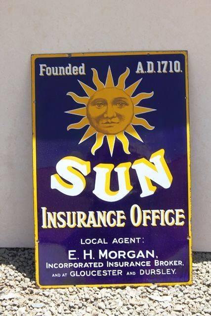 Sun Insurance Enamel Advertising Sign